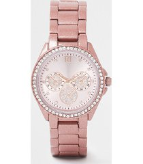 river island womens pink coated round face watch