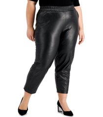 anne klein plus size pull-on faux-leather pants