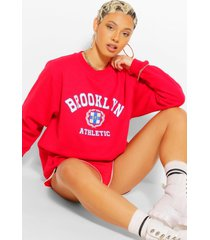 extreem oversized brooklyn sweater met tekst, rood