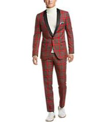 paisley & gray slim fit suit separates coat red tartan plaid