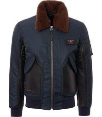 schott nyc limited edition lmcwu46p bomber jacket - navy & black lmcwu46p