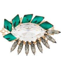 anton heunis mosaic crystal brooch - green