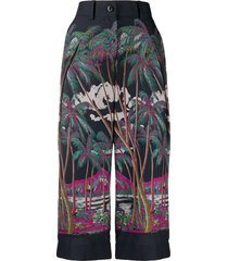sacai beach print cropped trousers - blue
