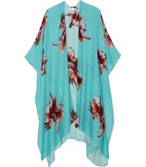 women's lightweight floral kimono turquoise multi one size from sole society