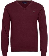 cotton wool v-neck stickad tröja v-krage röd gant