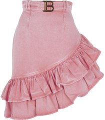 balmain asymmetric detail ruffled skirt