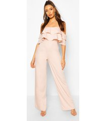 off the shoulder tailored jumpsuit, pink