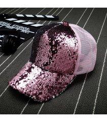sombrero para mujer, gorro lentejuelas reflectantes-rosa
