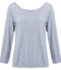 camicia lunga in manica lunga in misto di cotone di colore solido indietro