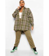 plus geruite oversized boyfriend blouse, khaki