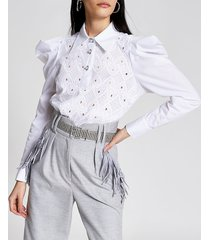 river island womens white crochet puff sleeve shirt bodysuit