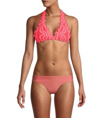 scalloped lace halter bikini top