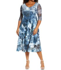 komarov lace sleeve charmeuse midi dress, size 1x in abstract rose at nordstrom