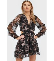 ax paris flower mesh mini dress loose fit dresses