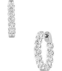 14k white gold & 2.50 tcw lab-grown diamond hoop earrings