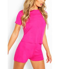 basic t-shirt and pyjama short set, cerise