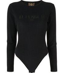 fendi pre-owned long-sleeved logo bodysuit - black