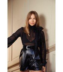 womens semi-sheer chiffon blouse with turtleneck - black
