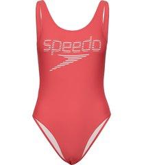 stripe logo deep u-back 1p baddräkt badkläder röd speedo