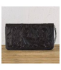 leather wallet, 'floral pattern in black' (mexico)