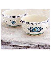 ceramic bowls, 'bermuda star' (pair) (guatemala)