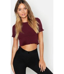 basic lettuce hem crop rib top, wine