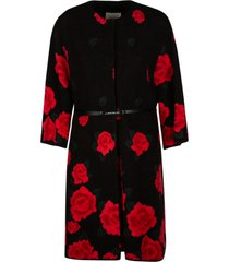 anna molinari rose print belted waist coat