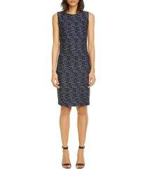 women's st. john collection two-tone float knit tweed sheath dress, size 14 - blue
