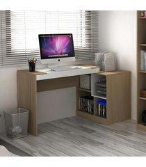 mesa para computador 2 em 1 avelã tx/branco tx - hecol
