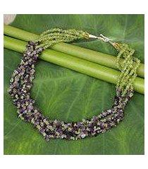 amethyst and peridot torsade necklace, 'lilac spring' (thailand)