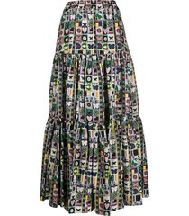 la doublej mixed print full skirt - blue