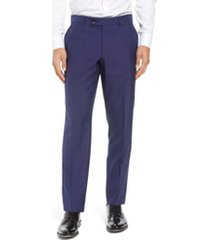 men's ted baker london jefferson flat front solid wool dress pants, size 35r - blue
