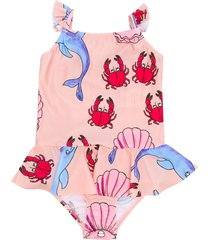 mini rodini dolphin and crab print swimsuit - pink