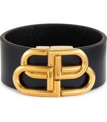 'bb' metal logo leather bracelet