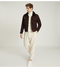 reiss miles - suede jacket with shearling collar in chocolate, mens, size xxl