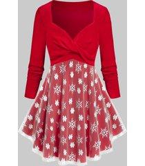 plus size velvet lace flower snowflake christmas tunic tee