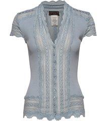 silk cardigan regular ss w/wide lac blouses short-sleeved blauw rosemunde