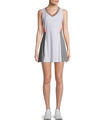 striped v-neck mini dress