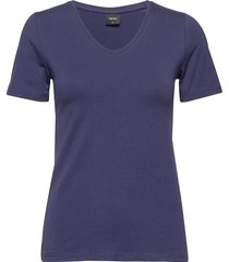 ladies t-shirt, basic t-shirts & tops short-sleeved blå nanso