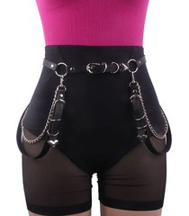 punk metal heart embellished chain waist belt