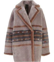 blancha merino straight geometric marquetry jacket