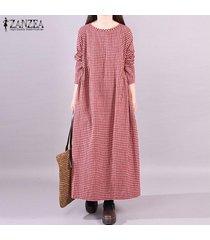 zanzea mujer de manga larga a cuadros de época compruebe kaftan caftan la llamarada más el tamaño de vestido de maxi -rojo