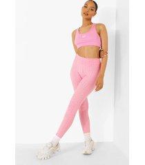 geplooide booty boosting leggings met textuur, pink