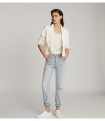 reiss aleida - cropped double breasted blazer in white, womens, size 14