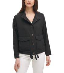 calvin klein tech button-down stretch drawstring-hem jacket