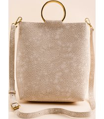 women's katina lace o-ring tote in ivory by francesca's - size: one size