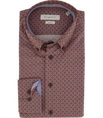 oranje overhemd bugatti donkerblauwe print