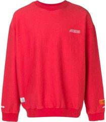 heron preston slouchy logo sweatshirt - red
