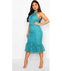 lace halterneck fishtail midi dress, aqua