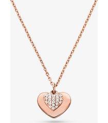collana con cuore in argento sterling placcato in metallo prezioso e pave